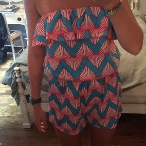 Blue and pink patterned romper